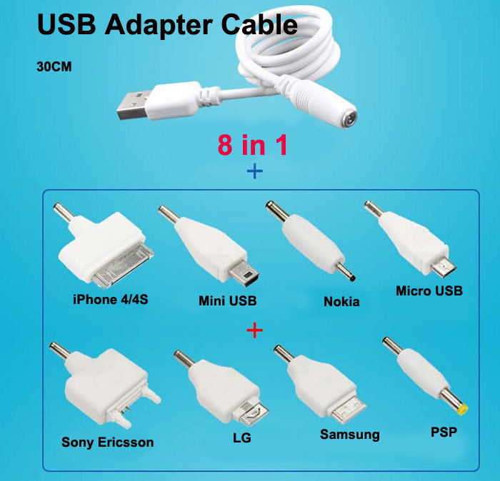 8 in 1 Universal USB Multi Cable Smart Adapter Charger Micro Mini USB Cable For iPhone Samsung Nokia Sony HTC PSP Free Shipping