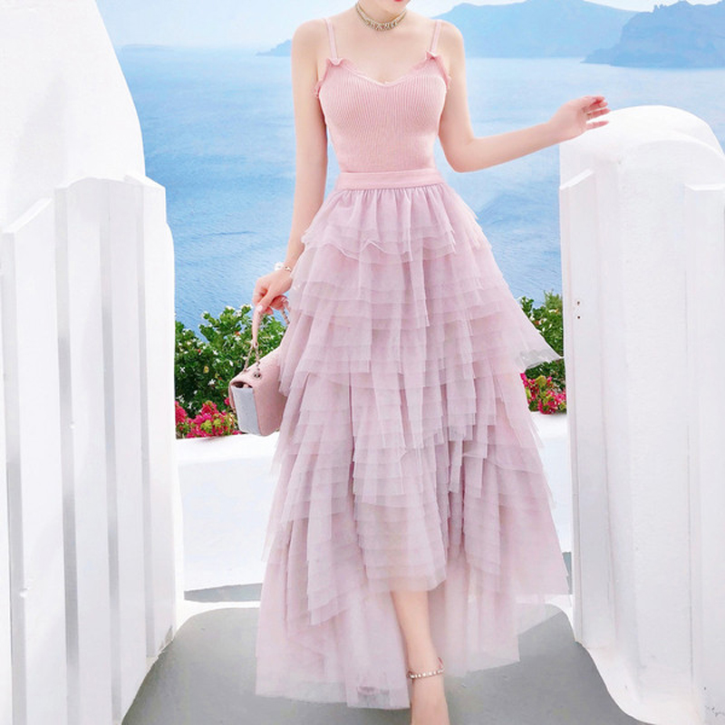 SHTONGHUA 2019 summer pink women's set knitted tank tops+mesh skirt 2 piece set layer long maxi skirt set female skirt suit