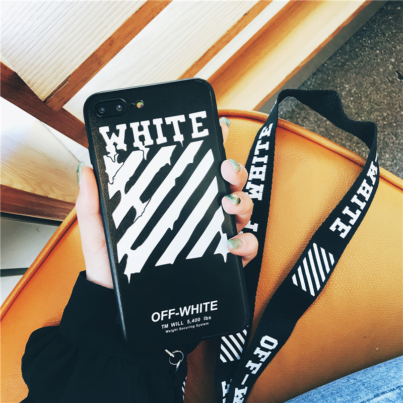 Phone - Off Twill Lanyard Soft Black Tpu Phone Case for IPhone X XR XS Max 8 7 6 6S Plus White Back Cover Offwhite