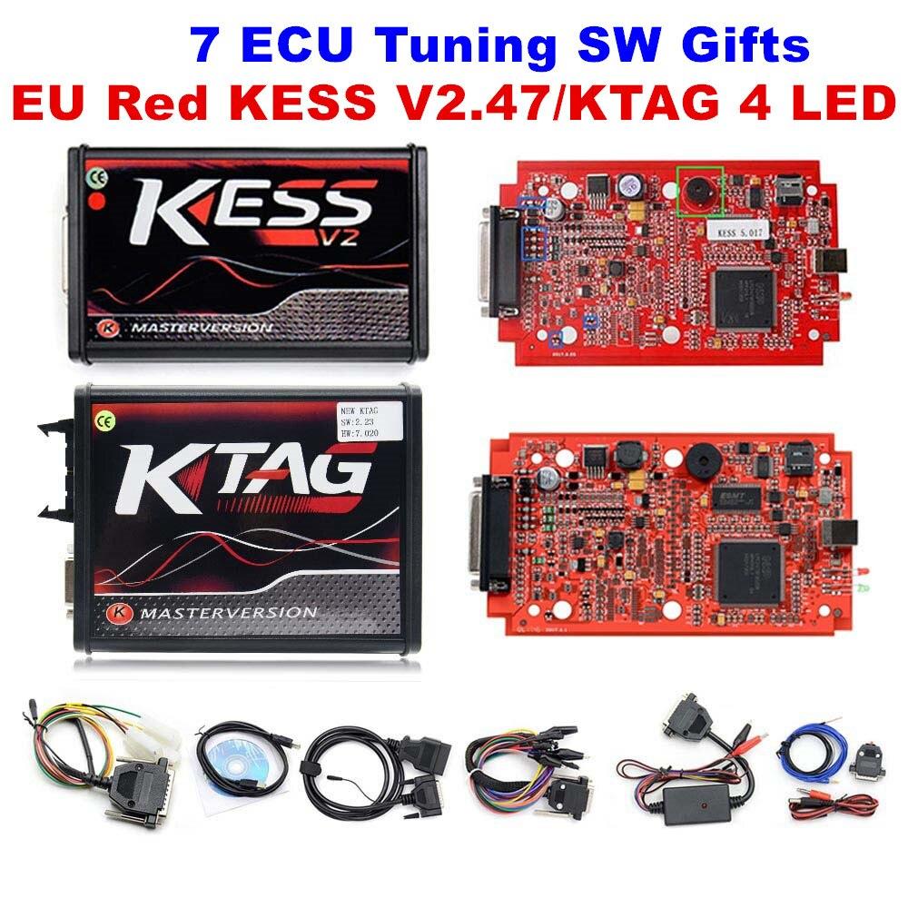 Back To Search Resultsautomobiles & Motorcycles Red Ktag V7.020 V2.23 Master 7.020 Ktag Kess V2 Kess V5.017+22pcs Bdm Probe Adpter Full Set Ecu Programming Chip Tunning Tool