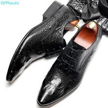 QYFCIOUFU 2019 Hot Handmade Fashion Luxury crocodile shoes Wedding Office Party Men dress Genuine Leather oxford
