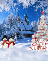 Customize Christmas Village House Photography Backdrops 5x7ft Vinyl Digital Cloth For Photo Studio Background L 877