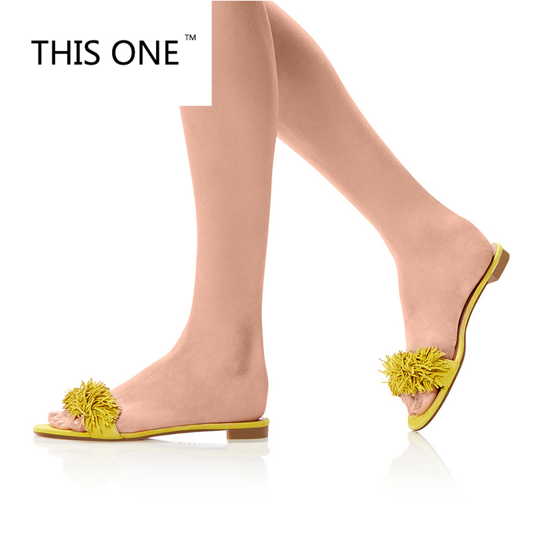 Brand Women Decor Beach Shoes Black yellow Slides Faux Suede Fringed Mules Slip On Dress Slippers Loafers US Size 35-46 цена 2017
