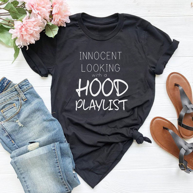 innocent looking with a hood playlist Letter Print Summer Short Sleeve tops tee Harajuku funny casual women's T-shirt image