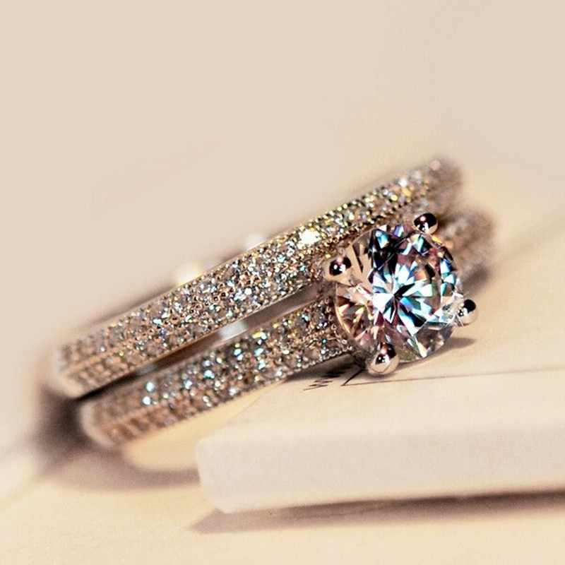 Vecalon, 3 цвета, кольцо для пары на годовщину, 5А, циркон, Cz, серебро 925 пробы, обручальное кольцо, кольца для женщин, свадебные украшения
