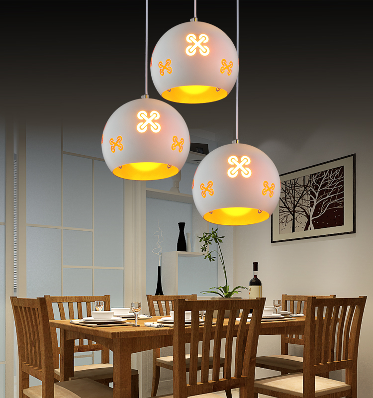 ФОТО Modern Simple LED White Wrought Iron  Carving Single Head Cafe Study Restaurant Pendant Lamp