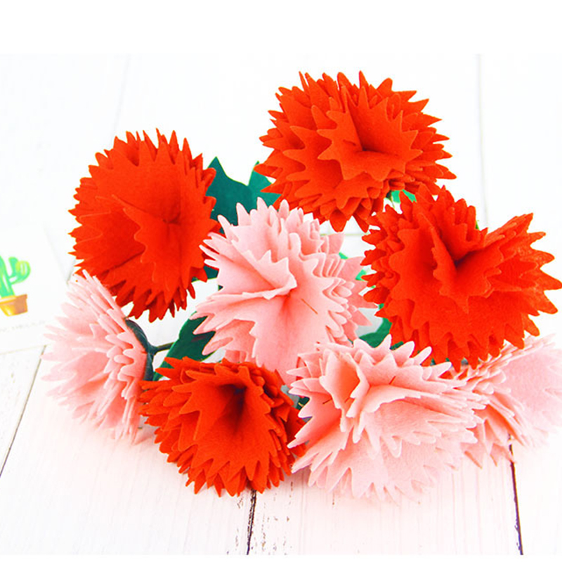 1PCS Carnation DIY Flower Material Package Children Cut-free Handmade Materials Mother's Day Gift Non-woven Flowers
