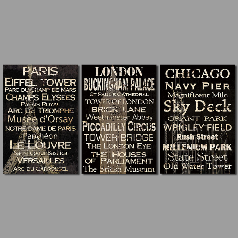 moderne poster dekoration buchstaben wandkunst bilder leinwand malerei paris london chicago f r. Black Bedroom Furniture Sets. Home Design Ideas