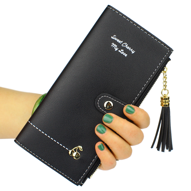 Women Wallets Hasp Tassels Zipper Lady Cherry Purses Money Bags Clutch Coin Purse ID Cards Holder Wallet Handbags Notecase Pouch cute girl hasp small wallets women coin purses female coin bag lady cotton cloth pouch kids money mini bag children change purse