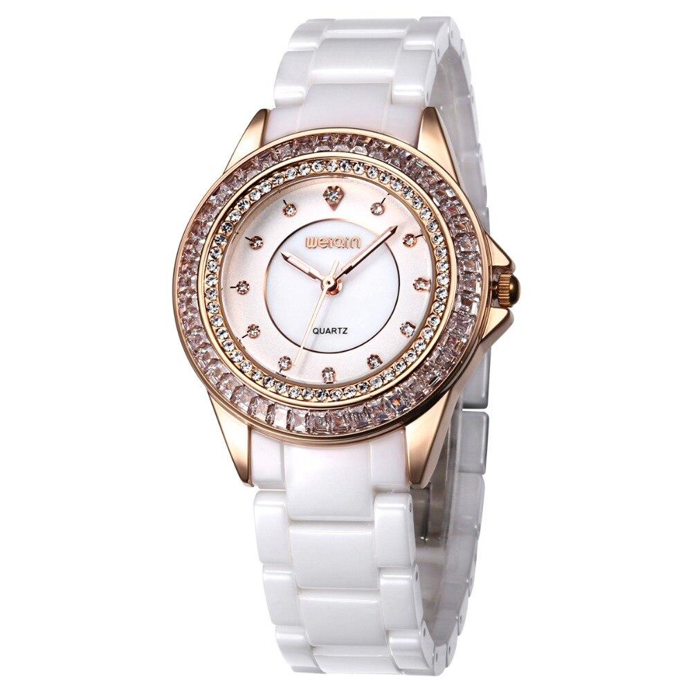 Top Luxury Brand WEIQIN Dress White Ceramic Gold Quartz Watch Women Watches Woman Relogio Feminino Montre Femme Relojes Mujer