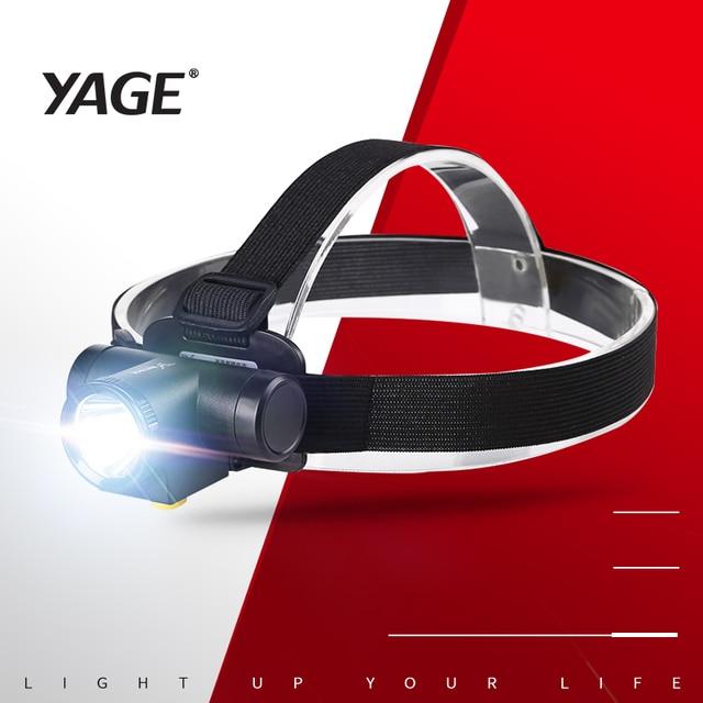 YAGE 1000LM LED Headlight Mini White Light Head Torch 1200mAh Rechargeable Li-lon Battery Headlamp Camping Hunting Flashlight