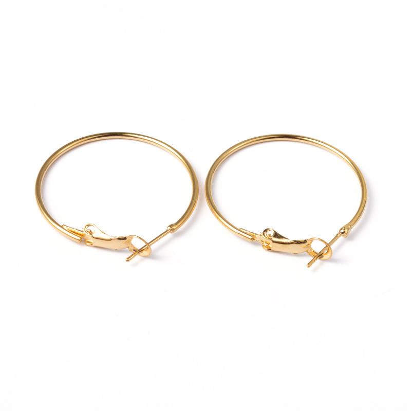 200pcs Nickel Free Brass Hoop Earrings Findings for DIY Golden Silver Color about 30 40 45