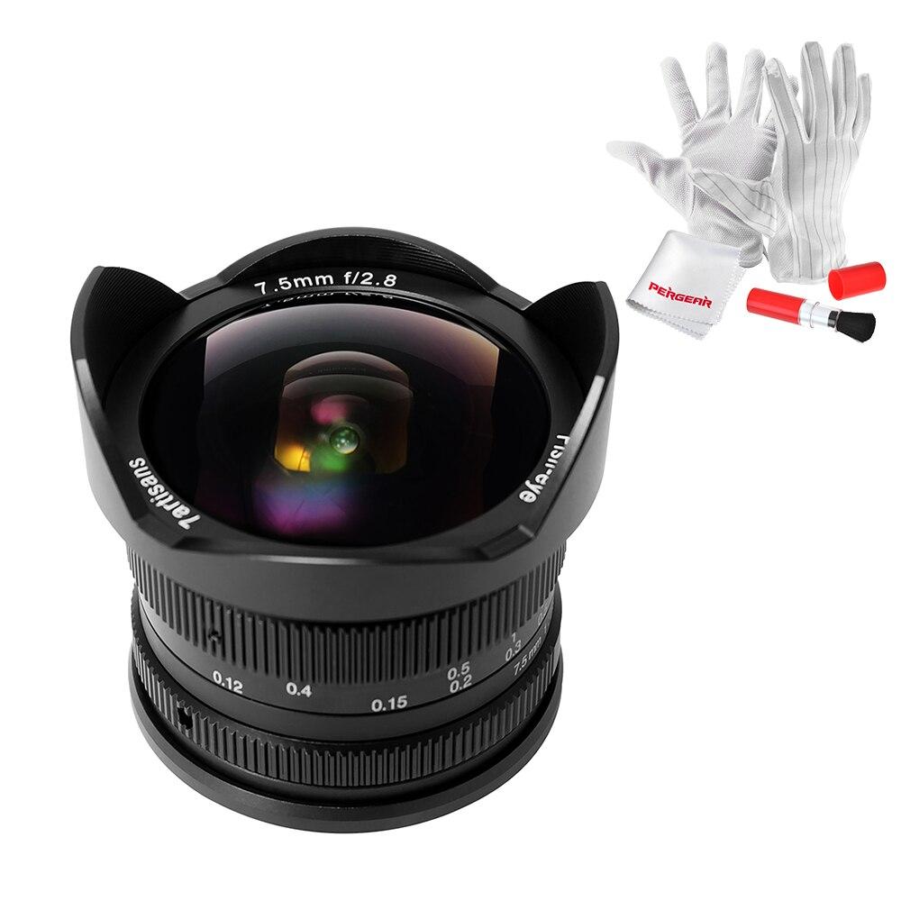7 artesanos 7.5mm f/2.8 lente ojo de pez 180 grados ángulo aplicar a todo sola serie para e montaje /para micro 4/3 cámaras sin espejo
