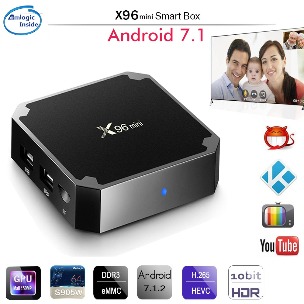 DOITOP 2GB 16GB WIFI 100M LAN Smart Android TV Box Android 7.1 4K 1GB 8GB Support 3D HD lecteur multimédia X96 Mini Smart TV BOX