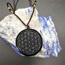 Fashion Natural Obsidian Carved Flower Of Life With Rope Chain Necklace For Healing
