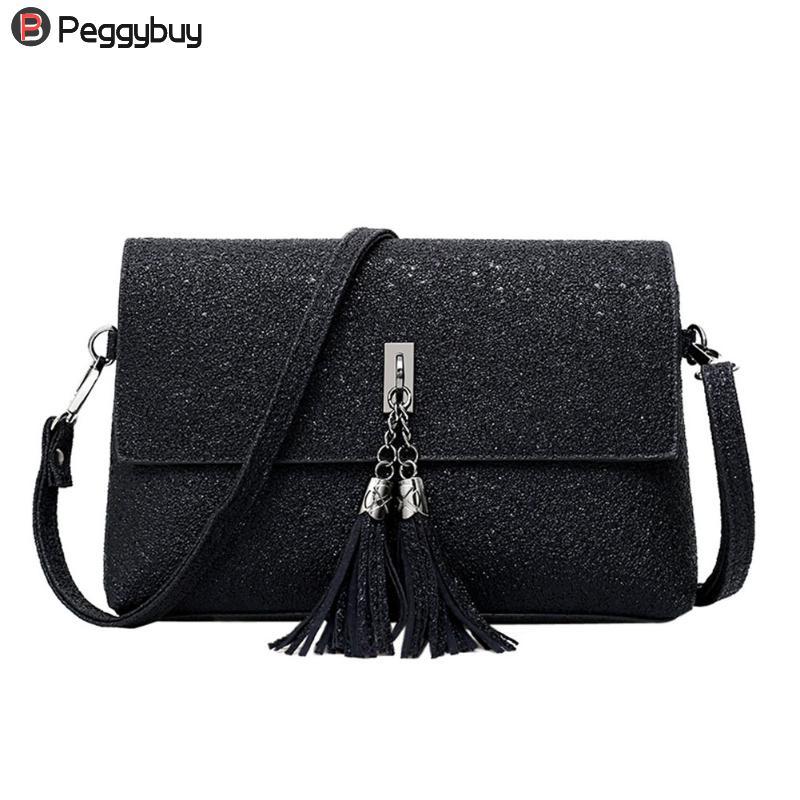Women Glitter Sequins Mini Shoulder Bag Tote Purse Messenger Crossbody Bags PU Tassels Leather Snap Envelope Bag Solid Brand цена