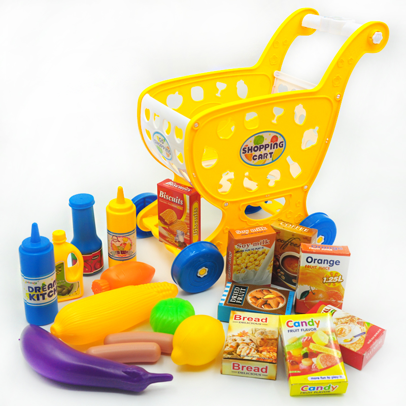 Inbeajy Childrens Cart Toy For Play House Toys Supermarket Trolley Simulation Educational Toys Fruit and Vegetable Food Sets
