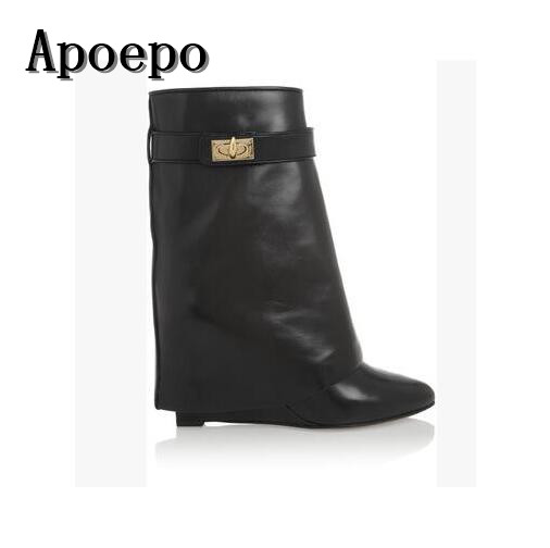 New brand Fashion Solid Color Shark Lock Suede Wedge Boots Height Increasing Fold Over Ankle Boot Pointed toe short boots discount shark lock ankle boots woman pointed toe real leather height increasing wedge mid calf boots woman fashion short boots