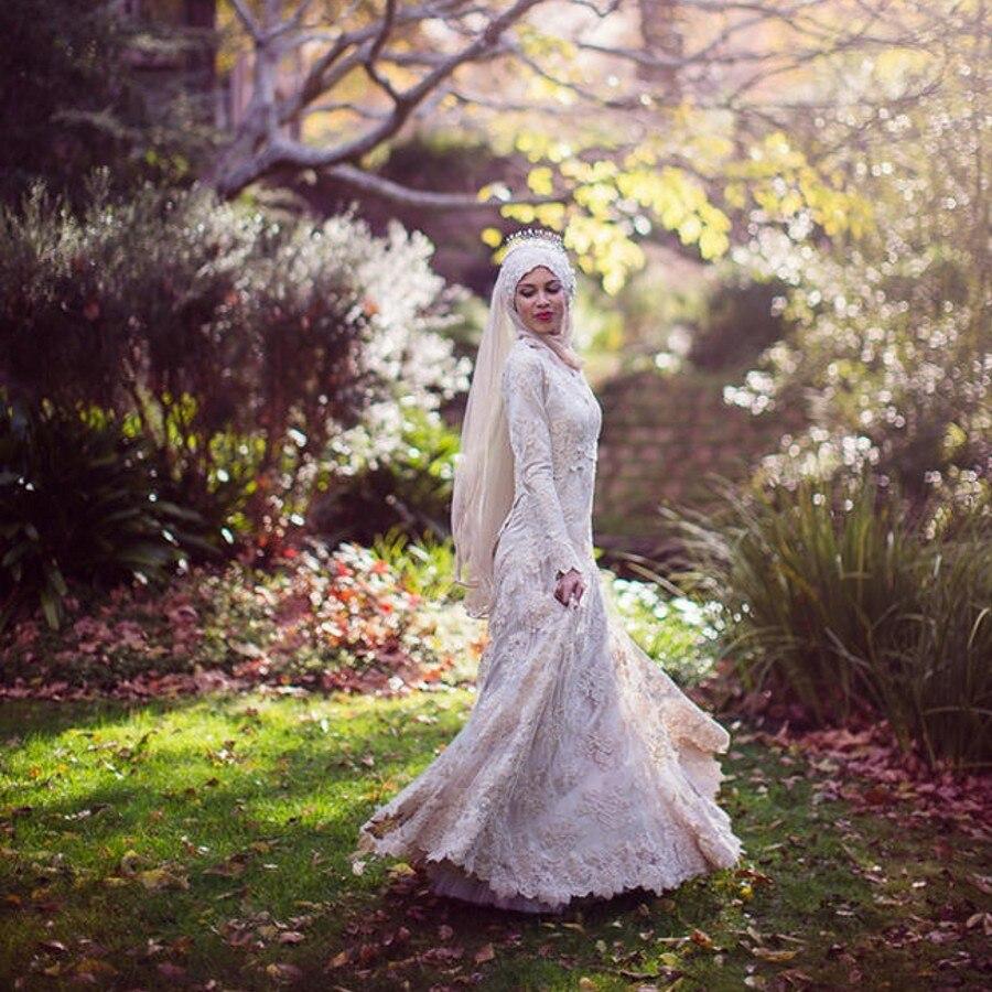 Vestidos De Noiva 2016 Muslim Bridal Gown High Neck Arabic font b Hijab b font Muslim