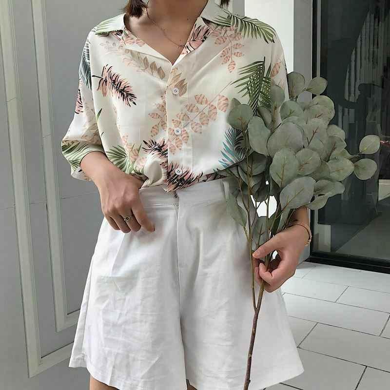 Harajuku женская блузка и топы с принтом, винтажные корейские повседневные блузы с коротким рукавом, Гавайские пляжные женские рубашки, одежда