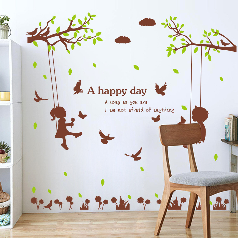 MARUOXUAN 125*133cm Boy And Girl Swing On The Tree Wall Decal Removable Living Room Bedroom Vinyl Wall Stickers For Kids Rooms