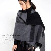high quality winter grade 100% 400g cashmere lattice thick woven women fashion big scarfs shawl pashmina 70x200cm