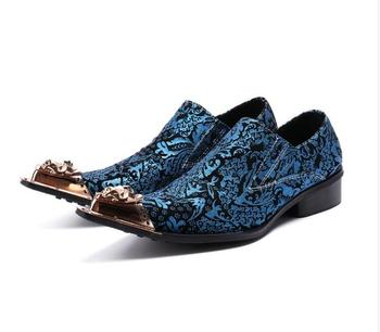 Large size EUR46 47 Fashion blue formal oxfords shoes genuine leather Pointed Toe shoes men wedding business dress shoes