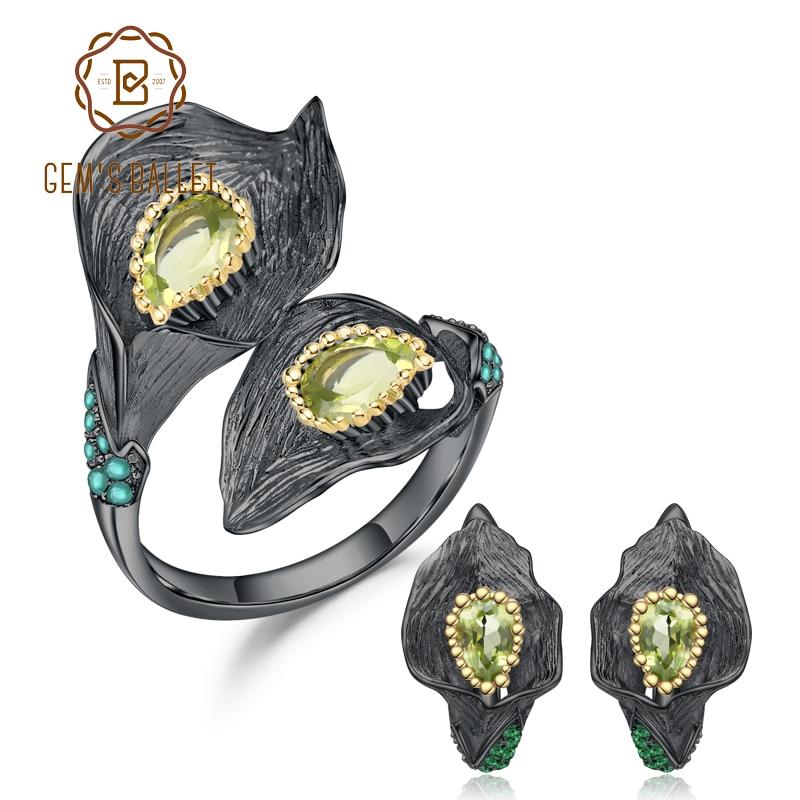 GEM S BALLET 2 83Ct Natural Peridot Ring Earrings Gemstone Sets 925 Sterling Silver Handmade Calla