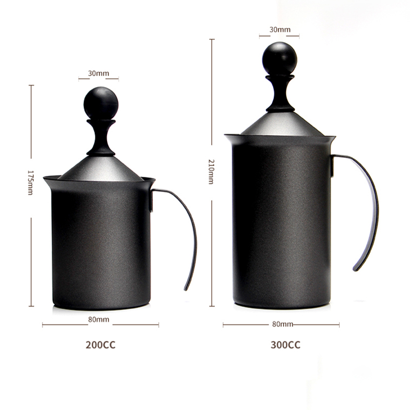 Milk Frother Household Fancy Milk Foaming Cup Manual Milk Frother Double Layer Coffee Mixer Latte Cappuccino Milk Blender Cup