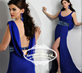 Backless O-Neck Chiffon Crystal Beads Royal Blue Evening Dress Mermaid Sweep Train Vestidos De Festa Azul Royal