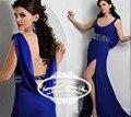 Sin respaldo O-cuello de La Gasa de Cuentas de Cristal Azul Real Vestido de Noche de La Sirena Barrer de Tren Vestidos De Fiesta Azul Royal