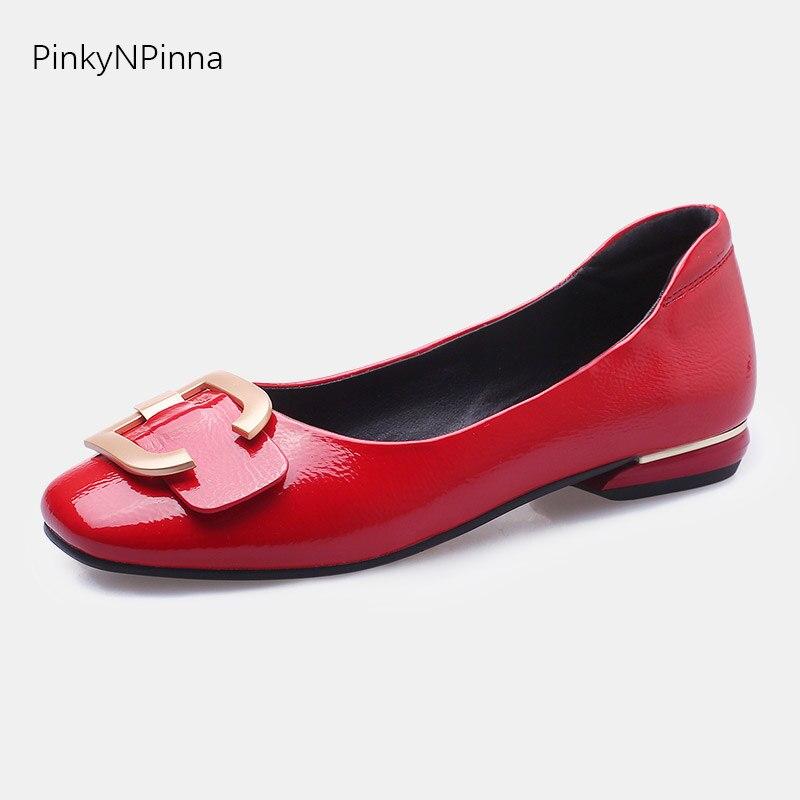 Style coréen dames ballerine ballet chaussures plates en cuir verni souple boucle en métal sans lacet confortable femmes bureau grande taille