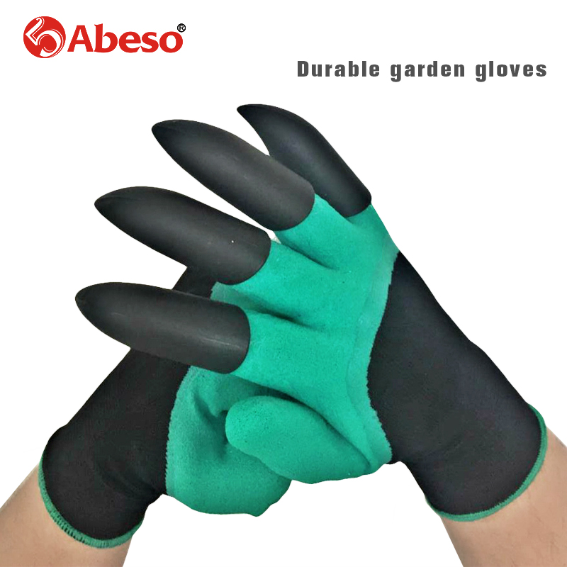 Abeso latex garden gloves with 4 ABS Plastic Claws for garden Digging Planting working protective 1 pair Drop A4006 перчатки garden genie gloves отзывы