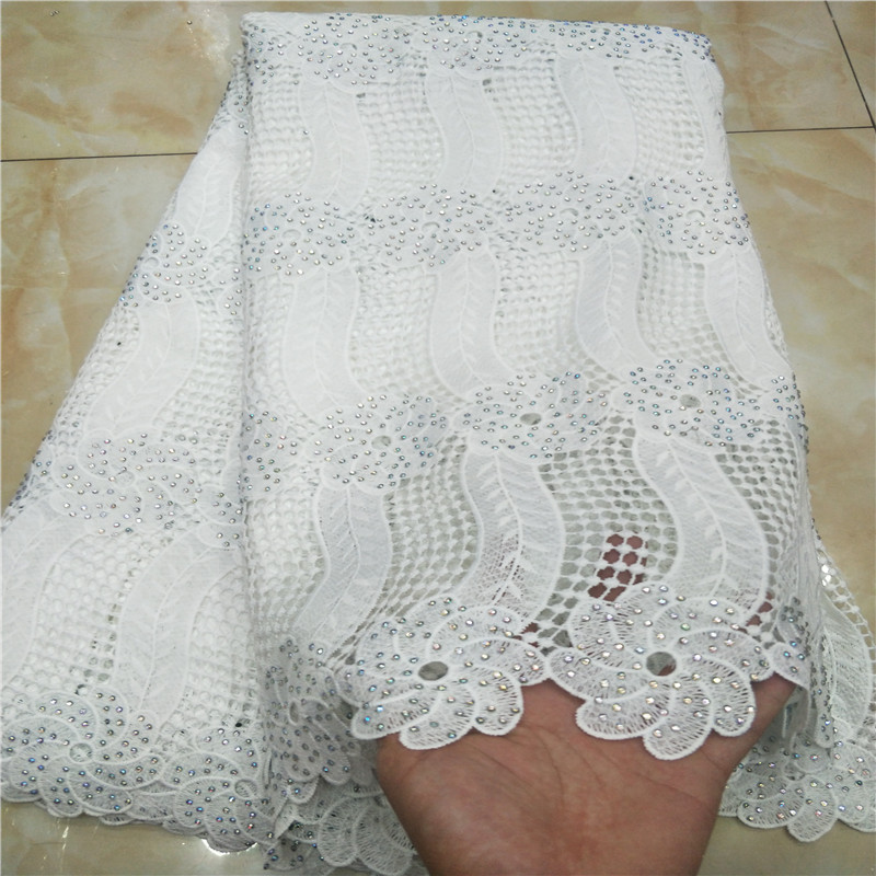 White Color African Swiss Voile Lace High Quality African Guipure Lace Fabric With Stones Embroidered Lace