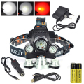 RED LED Headlight 5000Lm T6 +2x R5 LED Tactical Flashlight Hunting Torch Head Lamp+18650 Battery&Ac/Car Charger+USB Cable