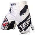 Tinta en blanco y negro personalizado de entrenamiento deportivo y competición sin reglas boxer shorts mma sanda muay thai ropa corta