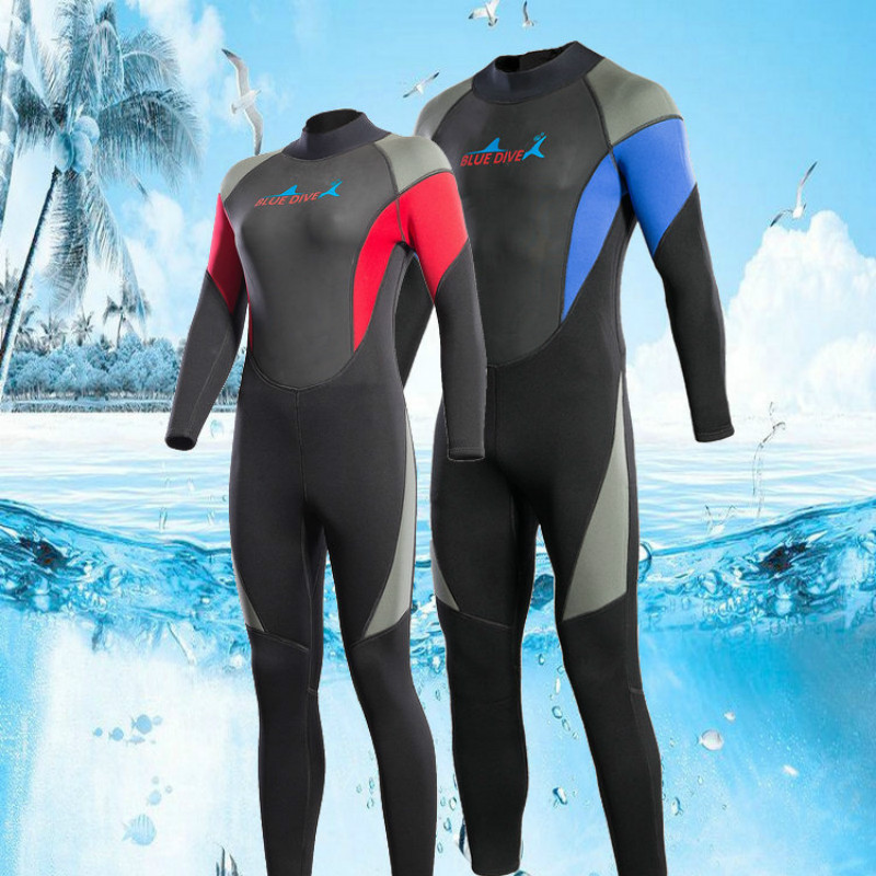 3MM Neoprene Wetsuits Women Swimwears Diving Suits Long Sleeves Men Surfing Rash Guards Snorkeling One Piece Full Body Jumpsuits цена