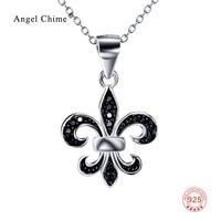 В Святая Мария символ Флер де Лис кулон заявление Цепочки и ожерелья Pure 925 пробы серебристый, черный кубического циркония Ожерелья для мужчи...