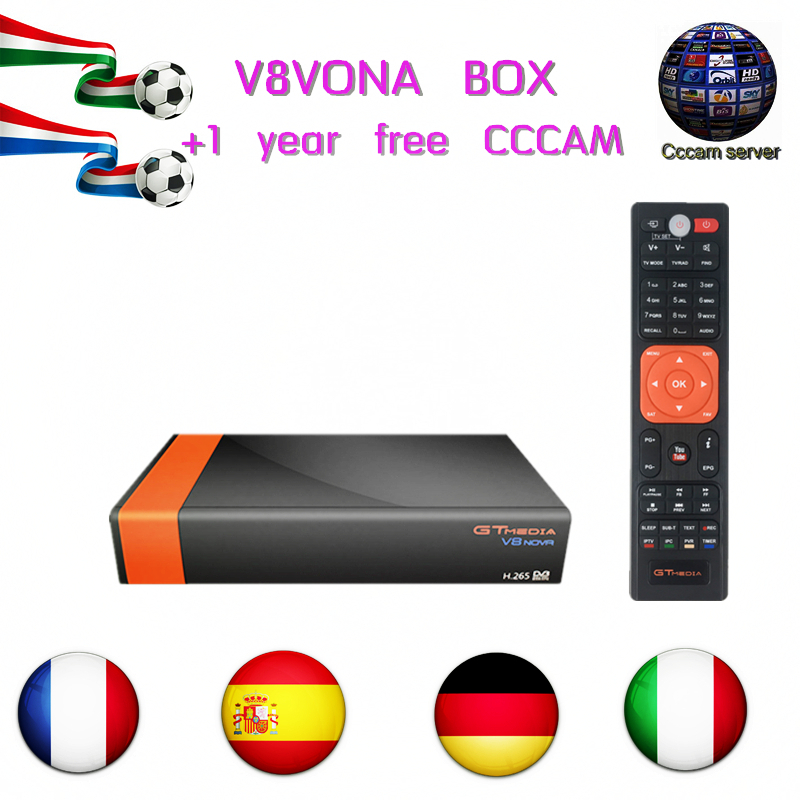 GTMEDIA V8 Nova box +1 year CCCAM DVB-S2 H.265 decoder satellite with built-in WIFI support multiple languages box decoder