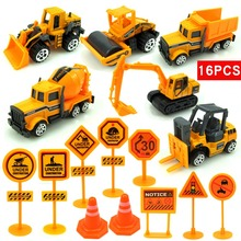 16 Pcs 1:64 Alloy Car Construction Vehicle Engineering Car Excavator Dump Roller Truck Model Toys Lot for Children Adult