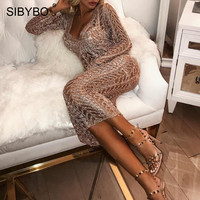 Sibybo Knitted Hollow Out Sexy Long Dress Party Deep V Neck Long Sleeve Backless Dresses for Women Casual Sweater Dress Vestidos