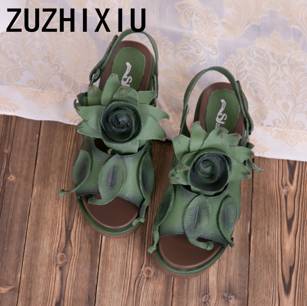 ZUZHIXIU Hot 2019 Summer new Korean version of national style genuine leather lady s sandals high