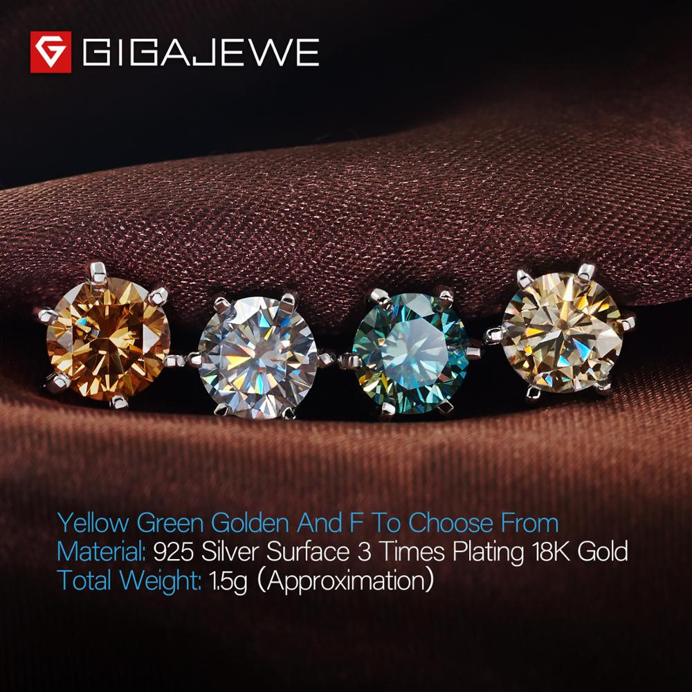GIGAJEWE EF VVS1 Round Cut Total 2.0ct Diamond Test Passed Moissanite 18K Gold Plated 925 Silver Earring Jewelry Girlfriend Gift