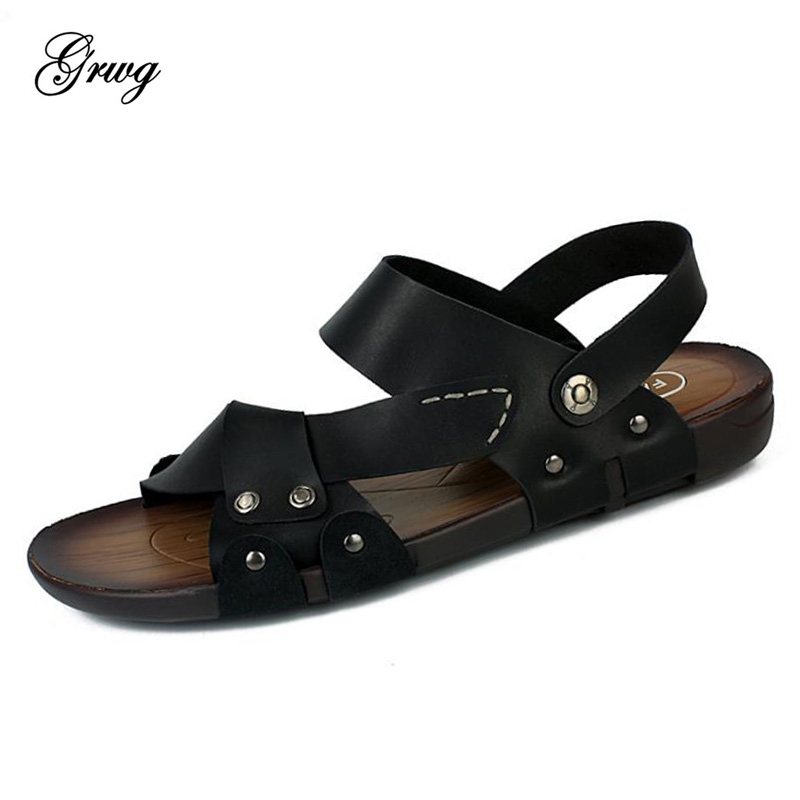 GRWG 100% Genuine Cow Leather Men Sandals New Summer Walking Sandals for Man Fashion Brand Outdoor Male Casual Shoes