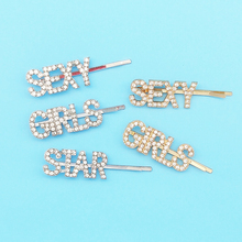 3 Pcs/set Cute Letter SEXY GIRLS STAR Rhinestone Hairpins Hair Barrette For Women DIY Headwear Custom Word Wholesale Clips