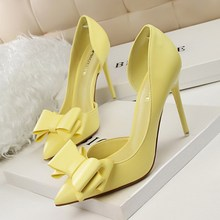 Delicate sweet bowknot high heel shoes side hollow pointed women pumps