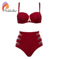 Andzhelika High Waist Swimwear Women Bandeau Bikini 2017 Sexy Mesh Bottom Bikini Set Diamond Decoration Swim