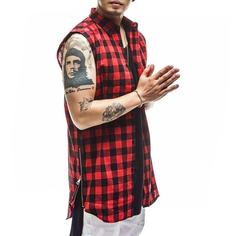 Men's British Style Plaid Shirts 2016 Summer Sleeveless Side Zipper Plaid  Shirt Men Hip Hop Streetwear - Popular Sleeveless Plaid Shirt Men-Buy Cheap Sleeveless Plaid