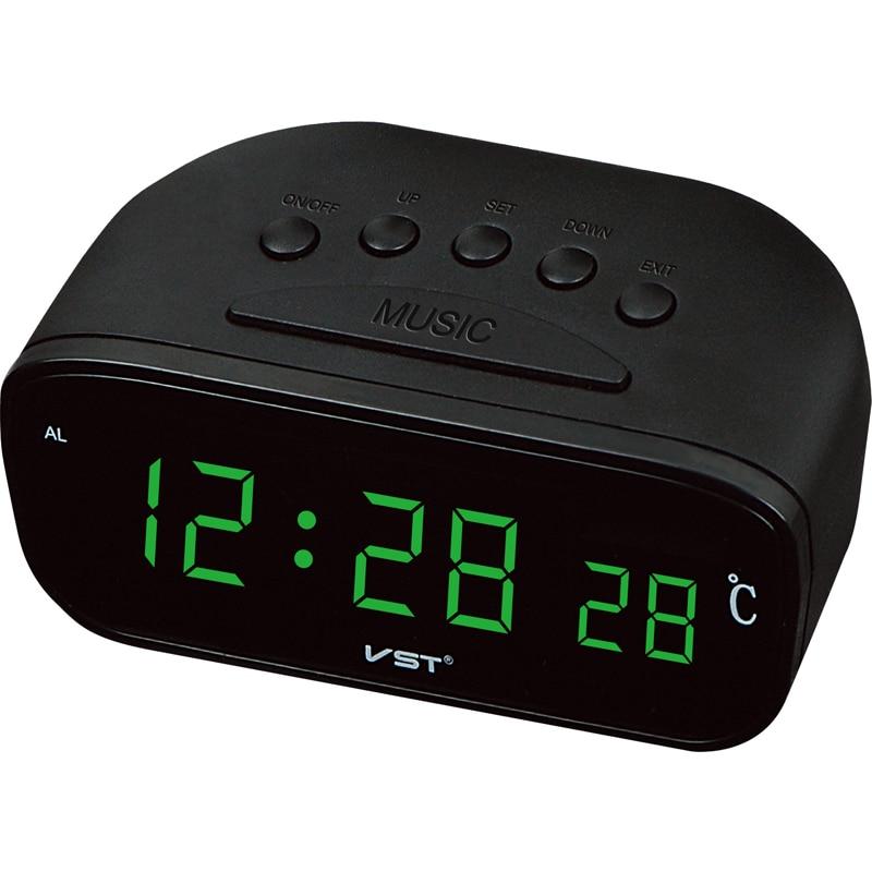 Home Decor Alarm Clocks Sunlynn Digital Led Desktop Clock Vintage Thermometer Alarm Clock With Green Display Room Decorative Blue Red A Table Clock
