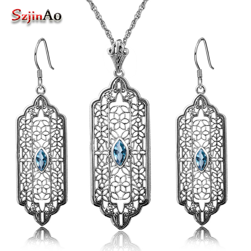 Szjinao Custom 2.8ct Aquamarine Women 925 Sterling Silver Crystal Jewelry Sets Earrings/Pendant Free Vintage bijoux Gift Box